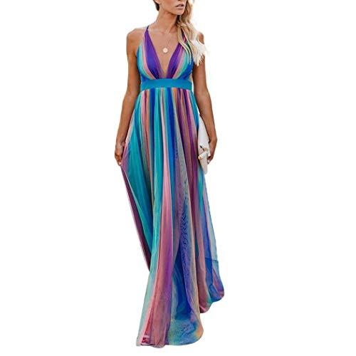 FORIDE Maxi vestidos para mujer, vestido sexy a rayas, sin espalda, elegante...