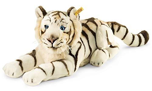 Steiff Bharat Tiger - 43 cm - Plüschtiger liegend - Kuscheltier für Kinder - weich & waschbar - weiß (066153)