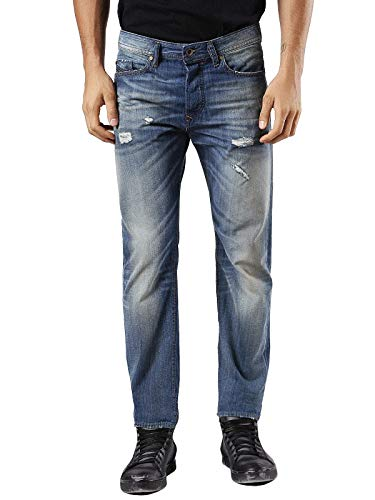 Diesel Herren Jeans Buster 0858N, Passform: Regular Slim-Tapered, Farbe: Blue/Faded (Blau/Verwaschen), Destroyed/Used-Look Vintage-Denim (W33/L34)