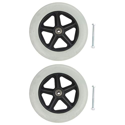 2 Pack Universal 19cm/8Inch Wheels - Solid Tires Replacement Part for Wheelchair, Scooters - 5/16 Inch Bearing