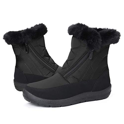 Gracosy Bottines de Neige Femmes Filles, Chaussures Ville Hiver Fourrure Bottes de Pluie Après Ski Imperméable Boots Fourrée Chaude pour Randonnée Pieds Larges, Noir, 41 EU