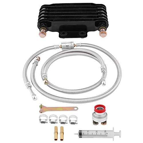 KIMISS 85ml Kit de sistema de radiador de enfriamiento de aceite Enfriador de aceite de aluminio con 2pcs tornillo hueco para motor GY6 100CC-150CC(Negro)