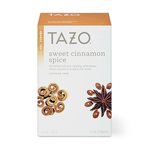 Tazo Herbal Tea Bags for a Classic Warm Beverage Sweet Cinnamon Spice Caffeine Free 20 Tea Bags, Pack of 6