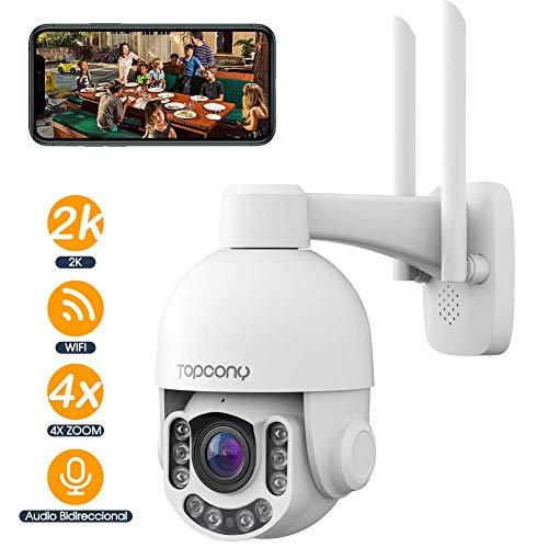 Cámara de Vigilancia WiFi Exterior,Topcony Cámara de Material metálico antivandalico, IP PTZ 5MP IP66 H.265 4 X Zoom óptico IR Visión Nocturna, Audio Bidireccional, Detección de Movimiento PIR