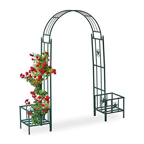 Relaxdays Arco per Rose con Fioriere, in Metallo, Resistente alle Intemperie, da Giardino, HLP 226 x 204 x 43 cm, Verde Scuro