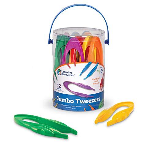 Learning Resources Jumbo Tweezers, Sorting & Counting, Homeschool, Toddler Fine Motor Skill Development, Set of 13