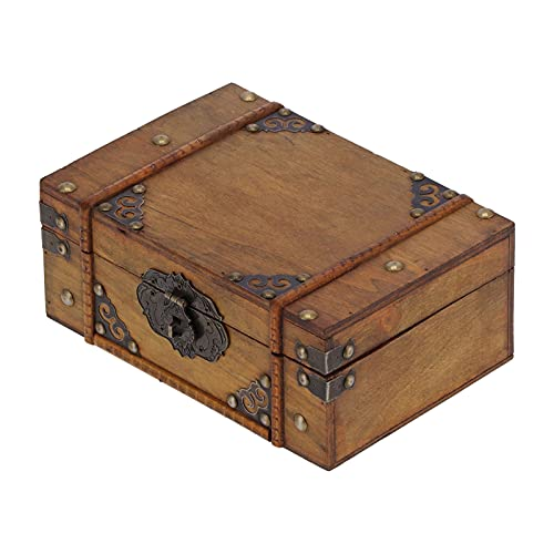 KUIDAMOS Contenedor de cosméticos Antiguo, Caja de Madera Decorativa Caja de Almacenamiento de Madera Vintage con Bloqueo de contraseña para Almacenamiento de Joyas de Adornos