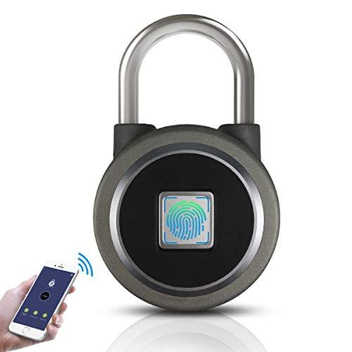 Fingerprint Padlock,Bluetooth Lock Smart Padlock,OMaggie Remote Smart Lock Biometric Keyless Thumbprint Lock Portable for Locker,Gym,Door,Cabinet,Suitcase,Backpack,School(Gray)