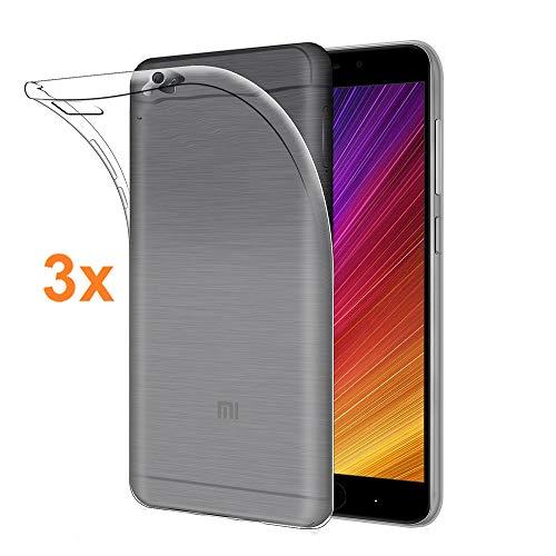 REY Pack 3X Cover in Gel TPU Trasparente per XIAOMI Mi 5S - Mi5S, Ultra Sottile 0,33 mm, Morbido Flessibile, Custodia Silicone