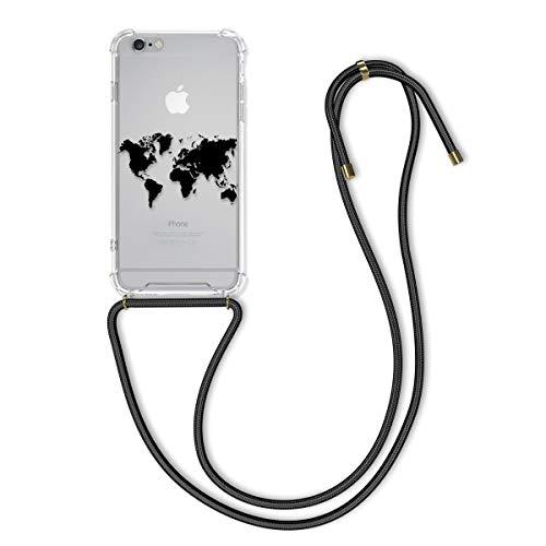 kwmobile Carcasa con Cuerda Compatible con Apple iPhone 6 Plus / 6S Plus - Funda de TPU con Colgante Mapa del Mundo Negro/Transparente