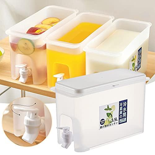 Hervidor frío 3.5L Hervidor para el refrigerador Jugo Juguete con el grifo para la botella de limonada de hielo Botella de agua fría Cubo de hielo Agua Jarra de agua ecológico ( Capacity : 3.5L )