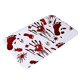 Gidenfly Alfombrilla de suelo para baño, color rojo sangriento, antihuellas, antideslizante, para Halloween, divertida, para salón, baño, 40 x 60 cm