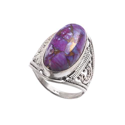 Anillo de piedras preciosas turquesas moradas | Piedra natural ovalada lisa | Anillo unisex de plata de ley 925 | Regalo de San Valentín | Talla de anillo 7 US