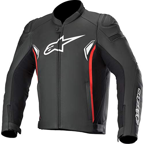 Alpinestars Motorradjacke Sp-1 V2 Leather Jacket Black Bright Red, Schwarz/Weiß/Rot, 56