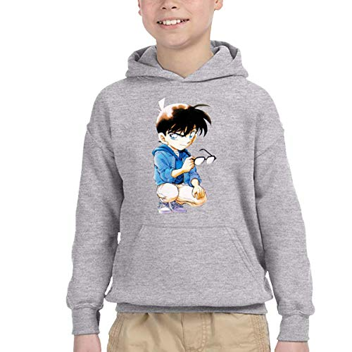 Smalaty Unisex Watchers Special Detective Conan Cool Kangaroo Pocket Sweatshirts with Hat for Autumn Gray-5T/6T