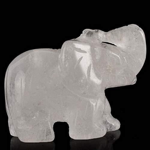 K-ONE Figuras de Elefante de Cristal de Jade de 2 Pulgadas Whosale artesanales talladas a Mano 100% Piedra Natural Mini Estatua de Animal para decoración Chakra curación