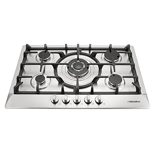 Windmax 30 inch Stainless Steel 5 Burner Built-In Stoves NG LPG Gas Cooktop Cooker