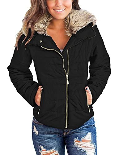 Vetinee Women Casual Faux Fur Lapel Zip Pockets Quilted Parka Jacket Puffer Coat Black Large (Fits US 12-US 14)
