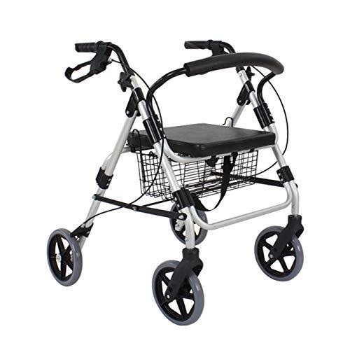 Rollator con 4 Ruedas, Ayuda para Caminar, Andador Caminador, Andador para Ancianos y Minusválidos, Aluminio, Ligero, Plegable, Cesta de Tela, Freno en Manetas,Plata,Without Pedal