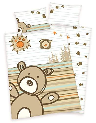 Herding lara parure de lit pour enfant renforcé-peluche ours-marron-dimensions: 40 x 60 cm, 100 x 135 cm