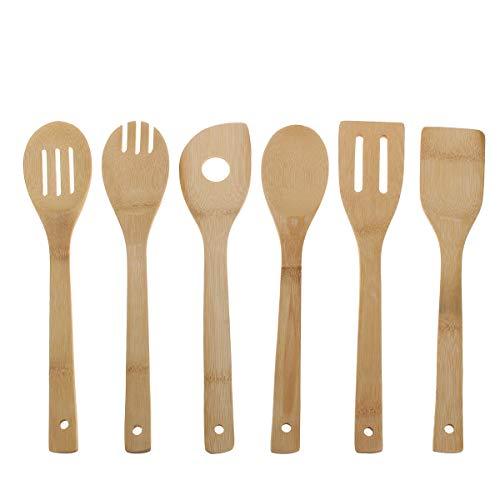 Juego de 6 cucharas de madera para cocina, utensilios de cocina, utensilios de bambú, espátula de madera