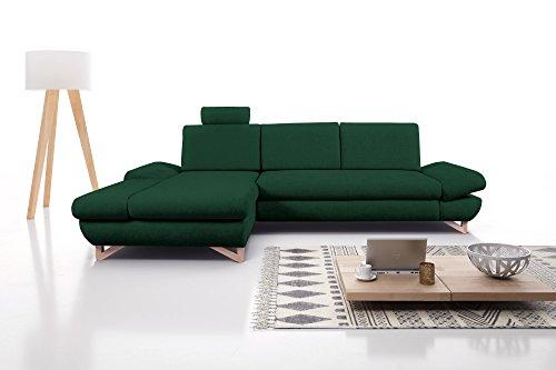 mb-moebel Ecksofa mit Schlaffunktion Eckcouch mit Bettkasten Sofa Couch L-Form Polsterecke Merida (Dunkelgrün, Ecksofa Links)
