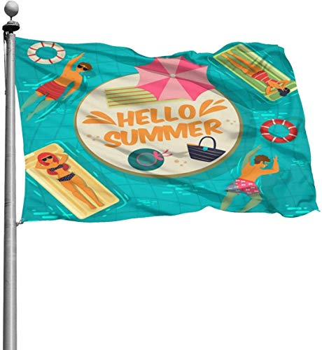 Viplili Flagge/Fahne, 3x5 Feet -Polyester Flags Summer Swimming Pool Flag,Yard Holiday and Seasonal Garden Flag Set