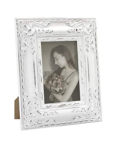 10x15 Bilderrahmen Weiß Grau Holz Vintage Barock Antik Fotorahmen Shabby Rustikal Home Deko zum Schreibtisch