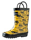 OAKI Kids Rubber Rain Boots with Easy-On Handles, Construction Vehicles, 1Y US Little Kid