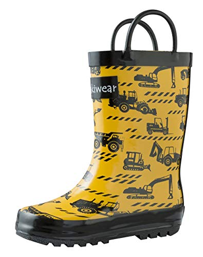 OAKI Kids Rubber Rain Boots with Easy-On Handles, Construction Vehicles, 5T US Toddler