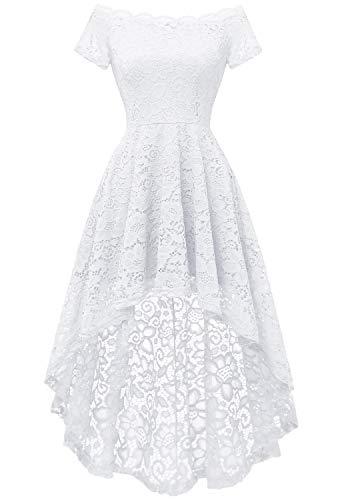 Dressystar Women's Lace Cocktail Dress Hi-Lo Off Shoulder Bridesmaid Swing Formal Party Dress 0042 White M