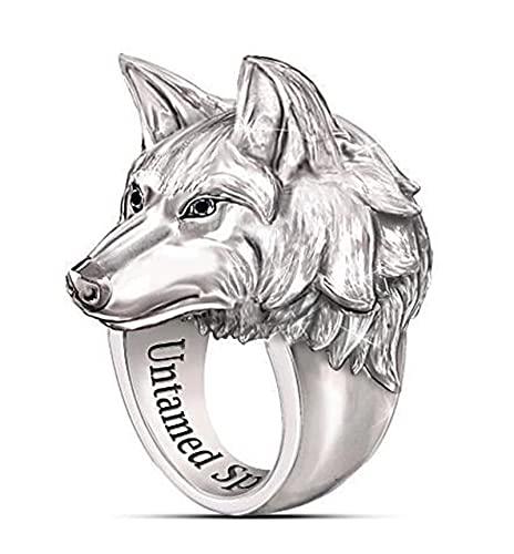 FLQWLL Anillo De Cabeza De Lobo Vikingo Anillo De Amuleto De Tótem De Lobo Retro Creativo De Acero Inoxidable para Hombre,9