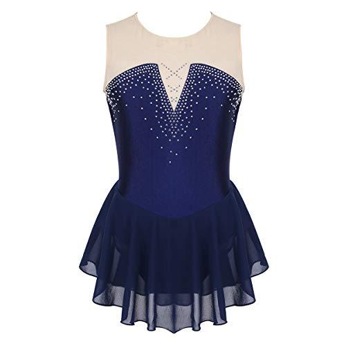 ranrann Maillot de Patinaje Artístico con Falda para Niña Vestido de Danza Ballet Diamantes Leotardo de Gimnasia Rítmica Baile Disfraz Bailarina Azul Marino 10 Años