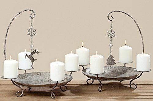 Kerzenständer Kerzenleuchter Belluno Metall Advent Tischdeko Leuchter Hirsch oder Baummotiv Stückpreis