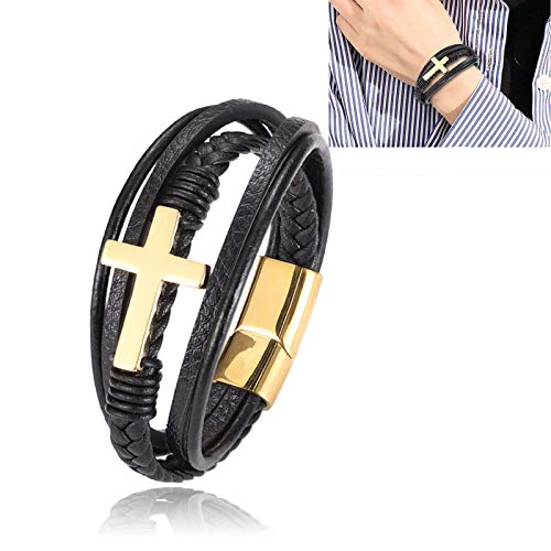 Faith Steel Cross Bracelet, Trendy Men's Cross Bracelet - Pulseras De Cuero De Acero Inoxidable con Cuerda Trenzada, DiseñO De Cruz De Acero Inoxidable Oro