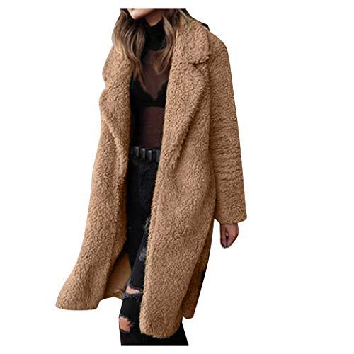 aliveGOT Women's Warm Fuzzy Fleece Lapel Long Cardigan Coat Faux Fur Outwear (Khaki 2, 2XL)