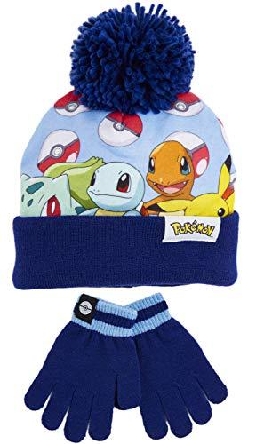 Pokémon Pikachu Ensemble Bonnet et Gants, Bonnet Pompon Hiver Chaud et Confortable, Motif Pikachu Pokeball ou Snorlax, Idée de Cadeau Noel Anniversaire Garçon Fille 3 4 5 6 7 8 9 Ans (Bleu)