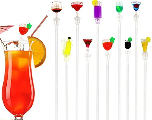 Swizzle Stick cocktail ,Bâtonnets de Cocktail ,Stirrers à cocktail,10 mélangeurs Mixing Sticks acrylique coloré pour cocktails, jus de fruits, boissons,Décorations de Fête de Cocktail 23cm