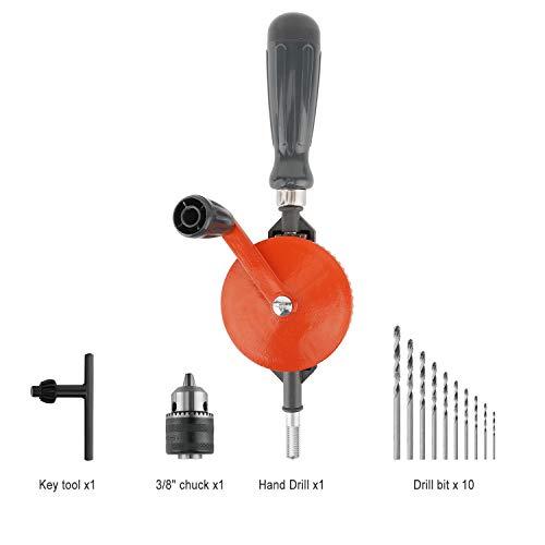 Housolution Taladro Manual de Mano, 3/8 Inches (1.5-10mm) Capacidad de Precisión de Mandriles Herramientas de Dobles de Acero Fundido para Madera, PVC, Plastico - Naranja