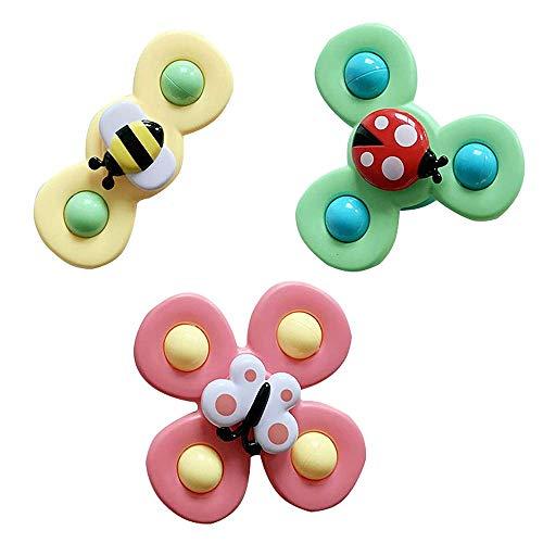 Muitar Juguete de baño de bebé Spinner con ventosa giratoria, juguetes de baño de bebé de dibujos animados Animal giratorio