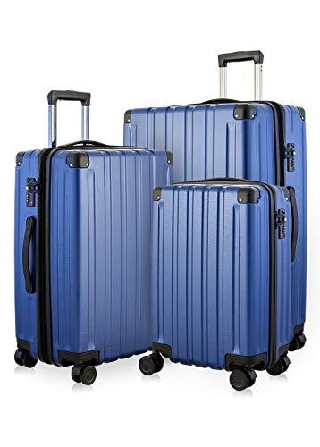Happy Trolley - 3er Koffer-Set Trolley-Set Rollkoffer Hartschalen-Koffer Reisekoffer Dubai DXB sehr leicht, TSA, (S, M & XL), Dunkelblau