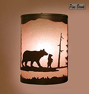 Rustic Light Bear Wall Sconce Lamp Cabin Pine Tree Lighting Right Facing