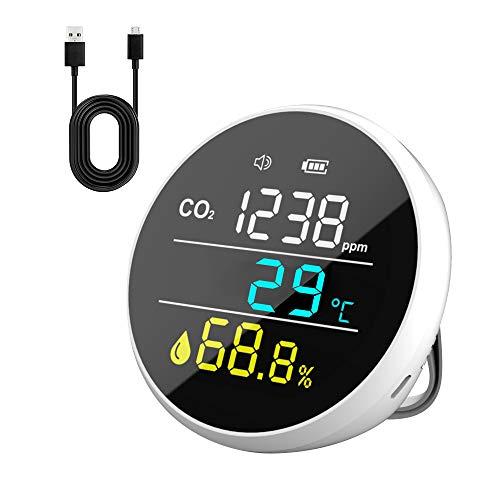 Imbimsi Co2-Ampel, Kleines Luftquales Messgerät zur Erfassung von Kohlendioxid, Temperatur und Luftfeuchtigkeit, Leicht zu Transportieren, Co2-Messgerät mit Einstellbarem Alarmwert