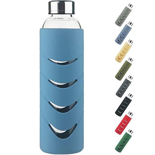 Botella de Agua de Cristal - 500 ml / 1 L Botella de Agua de Vidrio de Borosilicato sin BPA con Tapa a Prueba de Fugas y Funda Protectora de Silicona, Perfecta para Oficina, Fitness, Viajes