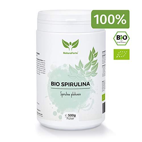 NaturaForte Bio Spirulina Pulver 500g, Nährstoffreich Superfood mit Vitamin A, Chlorophyll, Eisen...