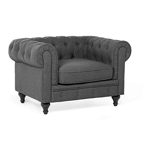 Beliani Klassischer Sessel im englischen Stil Polsterbezug grau Chesterfield