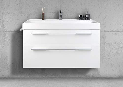 Intarbad ~ Badmöbel Set 100 cm, Led Spiegelschrank beidseitig verspiegelt, komplett vormontiert Bramberg Fichte IB1728