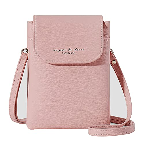 Aeeque Lightweight Leather Cell Phone Purse, Small Crossbody Bags for Women Cellphone Shoulder Bag Ladies Clutch Wallet for iPhone 12 Pro Max 11 XS XR 8 7 6S Plus, Pink