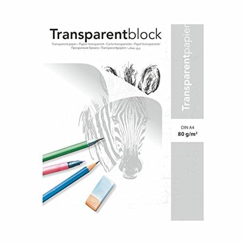 Transparentpapierblock - Skizzenpapierblöcke 80g/m², DIN A4 25 Blatt, transparentes Papier bedruckbar