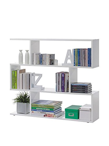 Habitdesign 301010BO - Estantería Salon Comedor Athena, libreria Oficina Color Blanco Brillo, Medidas: 110 x 97 x 25 cm de Fondo